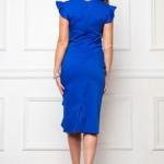 Платье-футляр синего цвета длины миди с драпировкой и воланами sz00037bl-3
