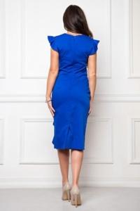 Купить Платье-футляр синего цвета длины миди с драпировкой и воланами с бесплатной доставкой