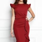 Платье-футляр цвета марсала длины миди с драпировкой и воланами sz00037ma-1