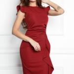 Платье-футляр цвета марсала длины миди с драпировкой и воланами sz00037ma-2