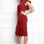 Платье-футляр цвета марсала длины миди с драпировкой и воланами sz00037ma-3