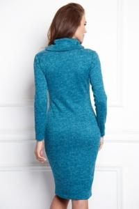 Купить Платье-водолазка длины мини бирюзового цвета с бесплатной доставкой