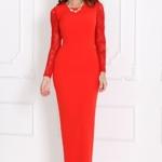 Вечернее красное платье прямого кроя с отделкой гипюром sz00028rd-1