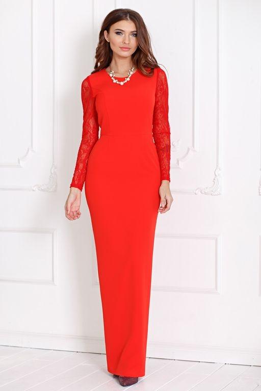 Вечернее красное платье прямого кроя с отделкой гипюром купить в интернет-магазине