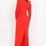 Вечернее красное платье прямого кроя с отделкой гипюром sz00028rd-2