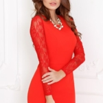 Вечернее красное платье прямого кроя с отделкой гипюром sz00028rd-3