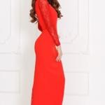 Вечернее красное платье прямого кроя с отделкой гипюром sz00028rd-4