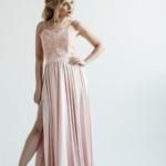 Вечернее платье пудрового цвета с корсетом на тонких бретелях zd00402pw-1