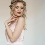 Вечернее платье пудрового цвета с корсетом на тонких бретелях zd00402pw-3
