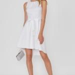 Белое платье из жаккарда с асимметричной юбкой и вырезом на спине vv51669wh-1