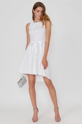 Белое платье из жаккарда с асимметричной юбкой и вырезом на спине купить в интернет-магазине