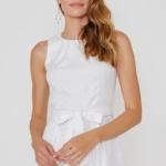Белое платье из жаккарда с асимметричной юбкой и вырезом на спине vv51669wh-2