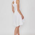 Белое платье из жаккарда с асимметричной юбкой и вырезом на спине vv51669wh-3