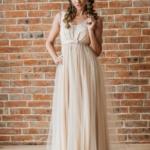 Бежевое вечернее платье с пышной юбкой и отделкой бусинами zd00451bg-1