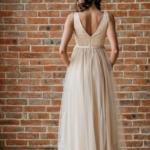 Бежевое вечернее платье с пышной юбкой и отделкой бусинами zd00451bg-3