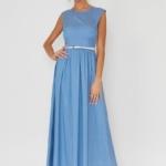 Длинное голубое платье без рукавов в мелкий горошекvv51590lb-1