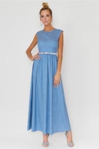 Длинное голубое платье без рукавов в мелкий горошек купить в интернет-магазине