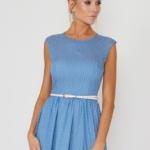 Длинное голубое платье без рукавов в мелкий горошек vv51590lb-2