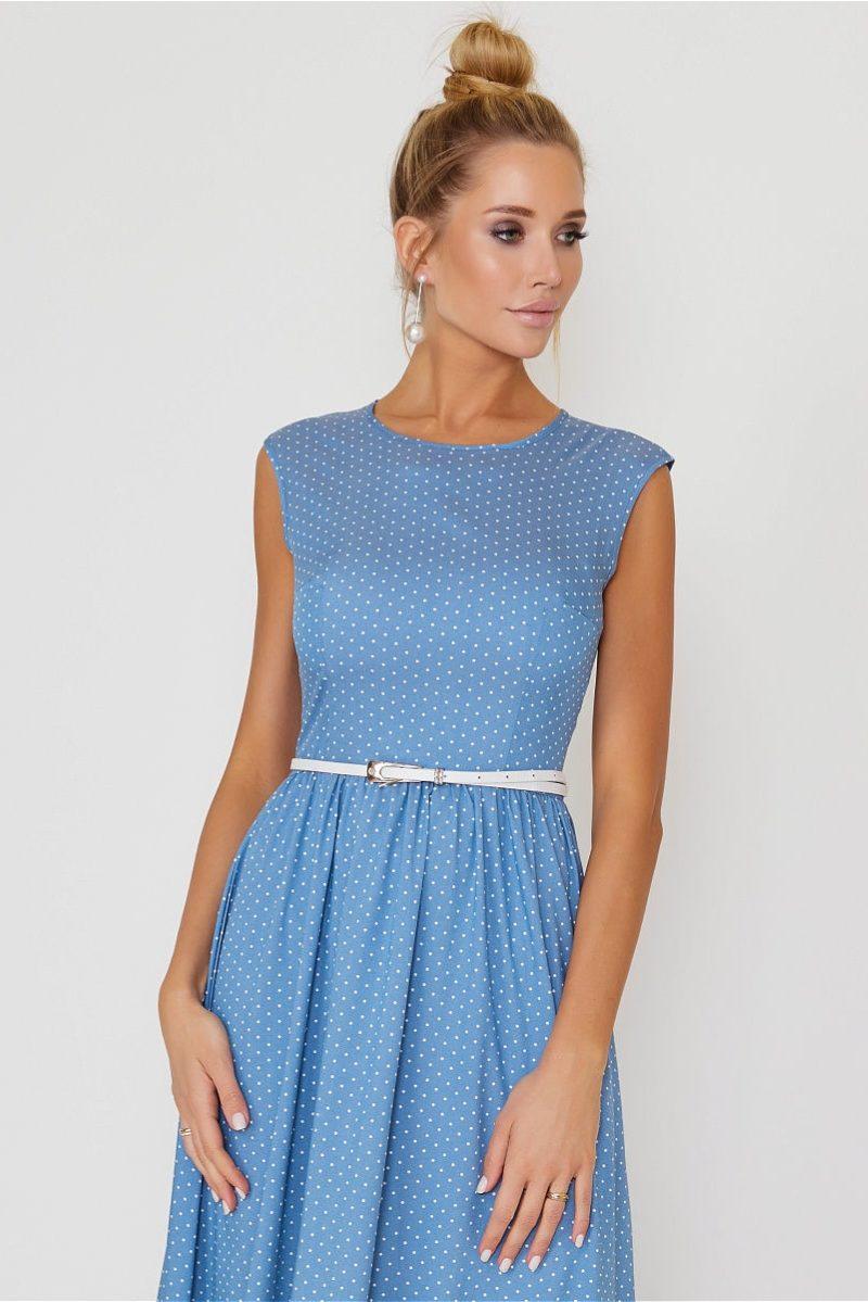 Длинное голубое платье без рукавов в мелкий горошек заказать с примеркой