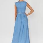 Длинное голубое платье без рукавов в мелкий горошек vv51590lb-3
