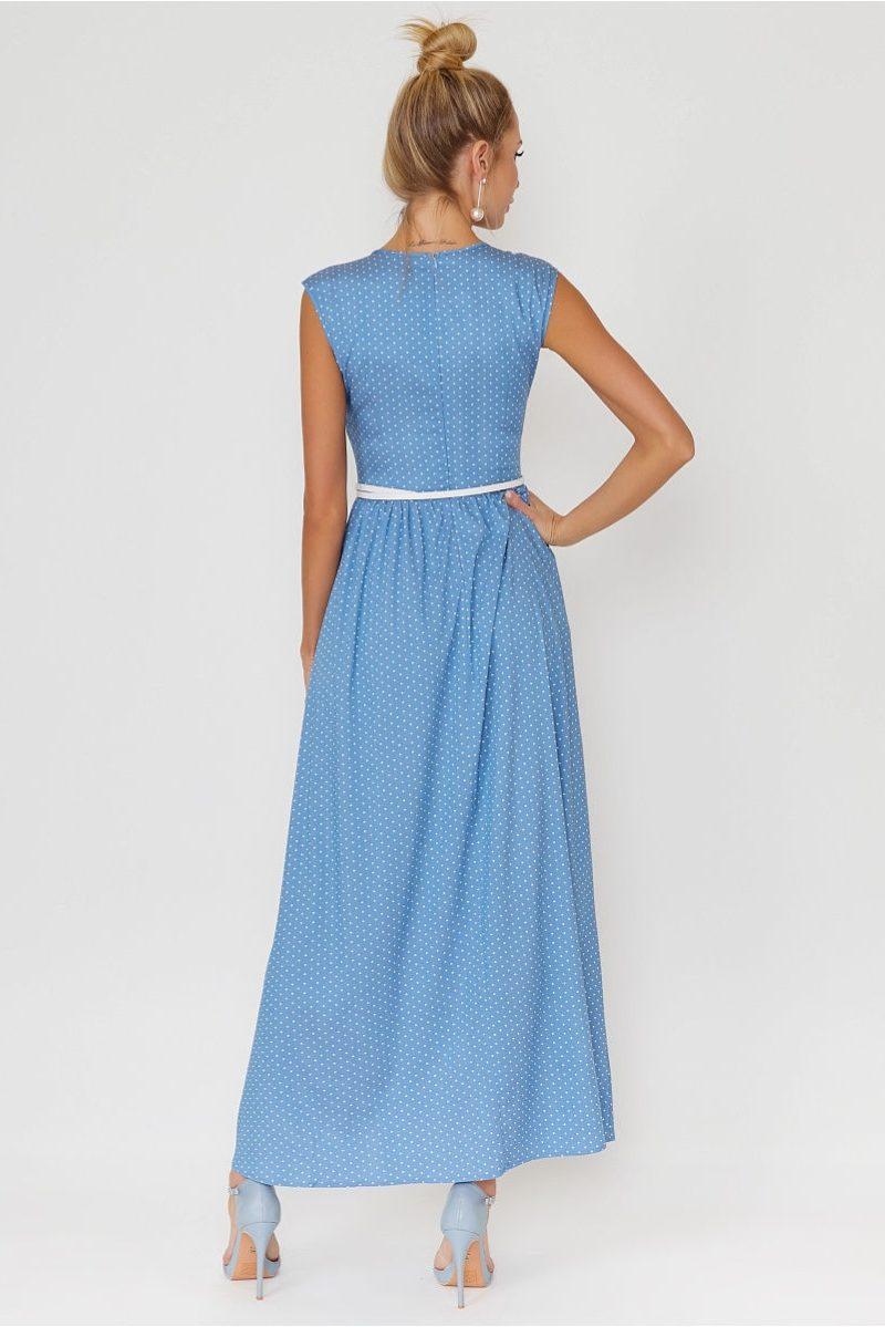 Купить Длинное голубое платье без рукавов в мелкий горошек в интернет-магазине
