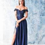 Длинное вечернее платье-корсет темно-синего цвета с разрезом на юбке zd00495db-1
