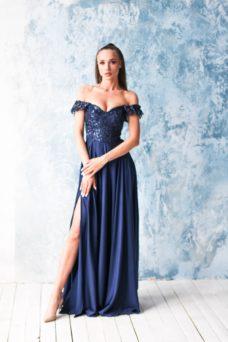 b7ec372fa73 ... Длинное вечернее платье-корсет темно-синего цвета с разрезом на юбке  купить в интернет