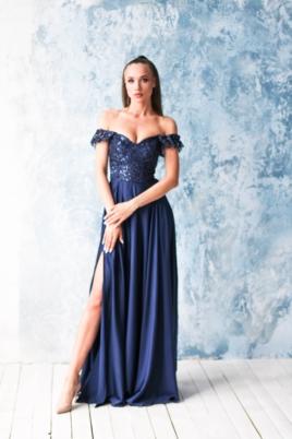 Длинное вечернее платье-корсет темно-синего цвета с разрезом на юбке купить в интернет-магазине