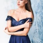Длинное вечернее платье-корсет темно-синего цвета с разрезом на юбке zd00495db-2