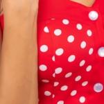 Хлопковый сарафан красного цвета в горошек с пуговицами vv51425rd-4