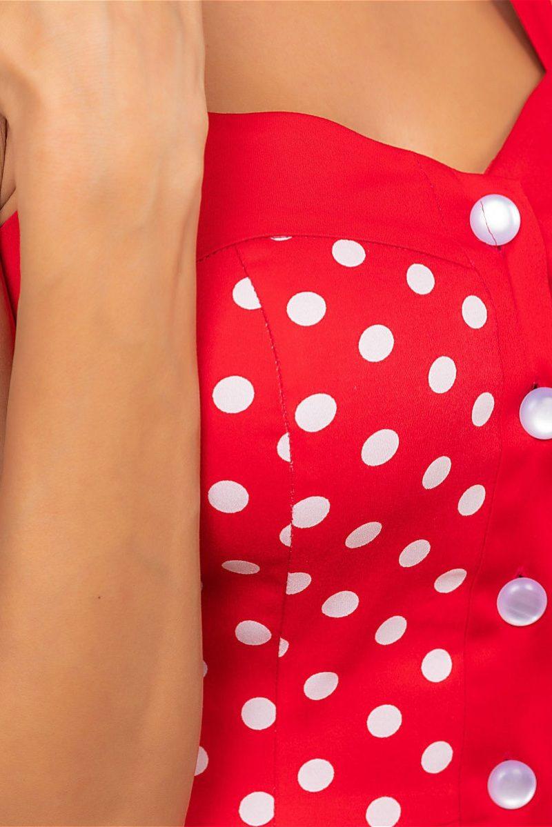Заказать Хлопковый сарафан красного цвета в горошек с пуговицами с примеркой