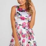 Короткое белое платье с цветочным принтом и вырезом на спине vv52019wh-1