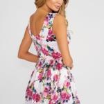 Короткое белое платье с цветочным принтом и вырезом на спине vv52019wh-3