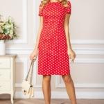 Красное платье-футляр из хлопка в горошек vv51624rd-1