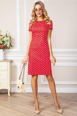 Красное платье-футляр из хлопка в горошек купить в интернет-магазине