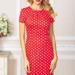 Красное платье-футляр из хлопка в горошек vv51624rd-2