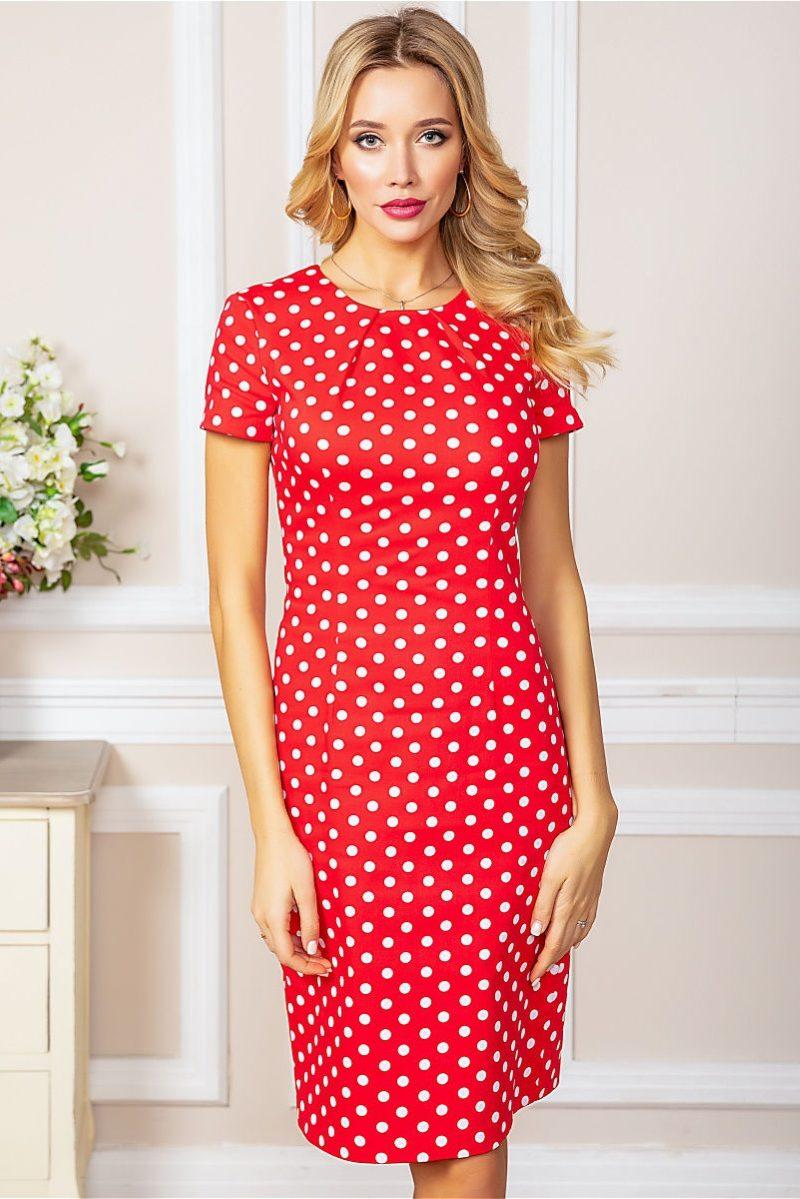 Красное платье-футляр из хлопка в горошек заказать с примеркой