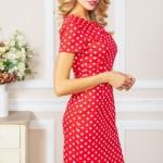 Красное платье-футляр из хлопка в горошек vv51624rd-3