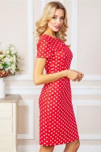Купить Красное платье-футляр из хлопка в горошек в интернет-магазине