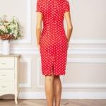 Красное платье-футляр из хлопка в горошек vv51624rd-4