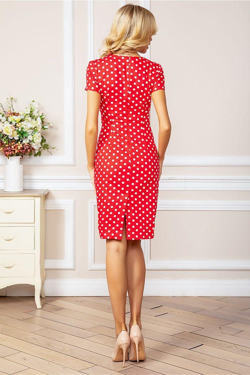 Заказать Красное платье-футляр из хлопка в горошек с бесплатной доставкой