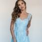 Кружевное платье миди голубого цвета на бретелях заказать с примеркой