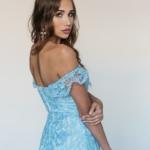 Кружевное платье миди голубого цвета на бретелях zd00083lb-4