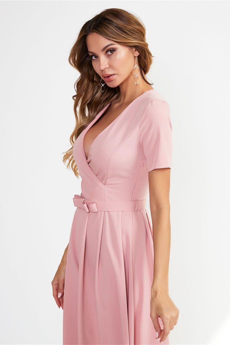 Нежно-розовое платье миди с декольте и пышной юбкой vv51544pk-3