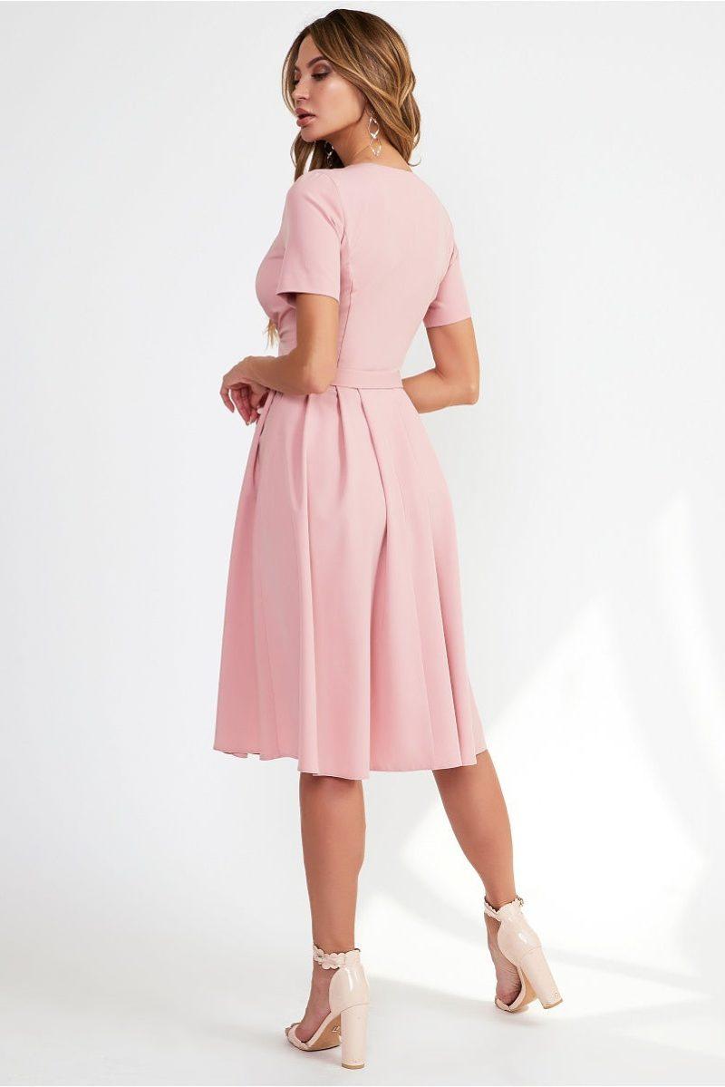 Нежно-розовое платье миди с декольте и пышной юбкой vv51544pk-4