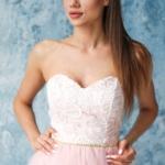 Платье мини с корсетным верхом из кружева с пышной юбкой пудрового цвета zd00381pw-4