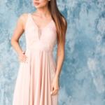 Платье в пол цвета пудры с кружевной отделкой и разрезом на юбке zd00491pw-2