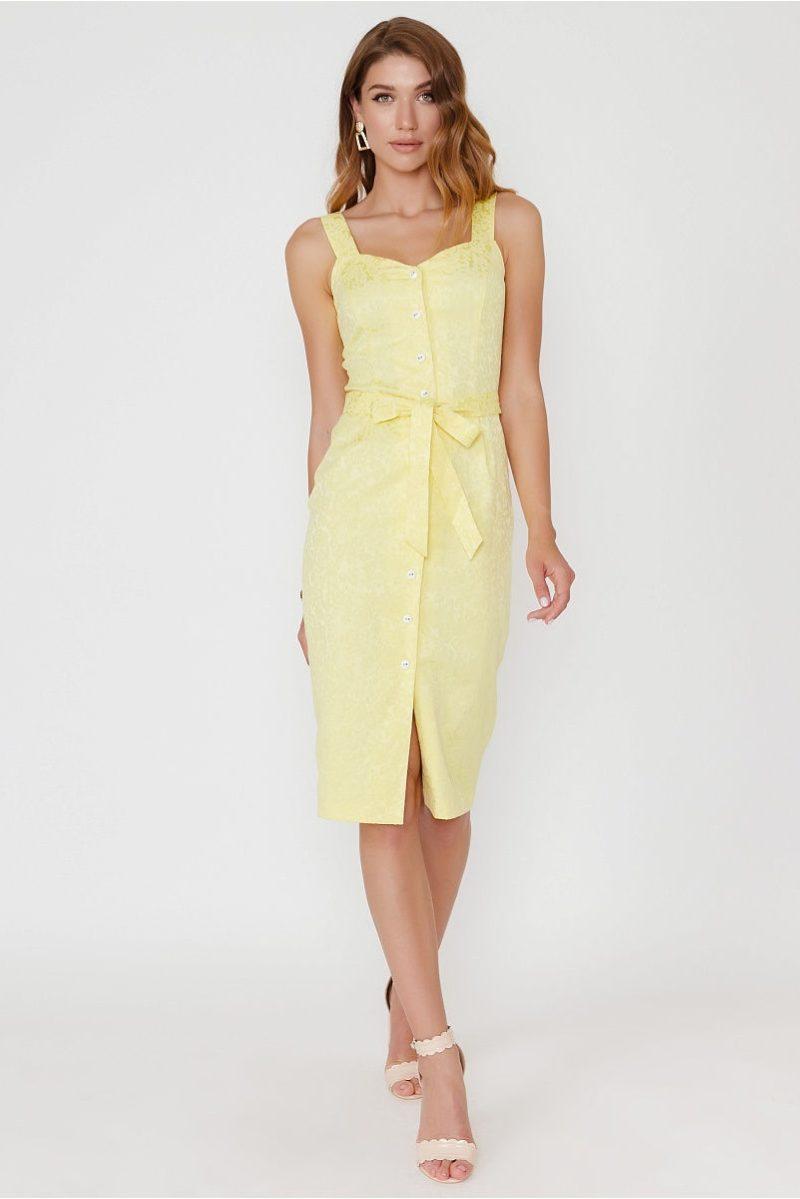Светло-желтый сарафан длины миди с поясом и пуговицами купить в интернет-магазине