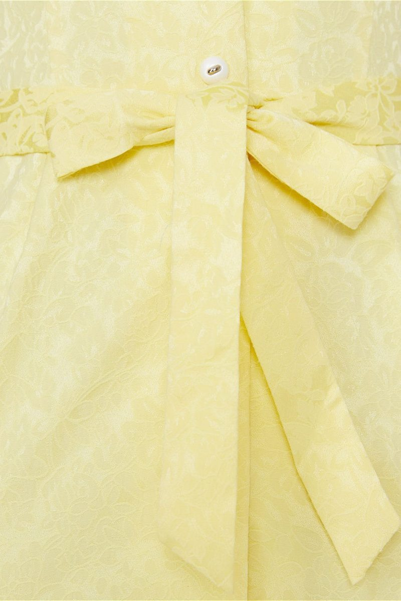 Заказать Светло-желтый сарафан длины миди с поясом и пуговицами с бесплатной доставкой