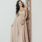 Вечернее платье-корсет бежевого цвета с кружевом и шифоновой юбкой zd00432bg-1
